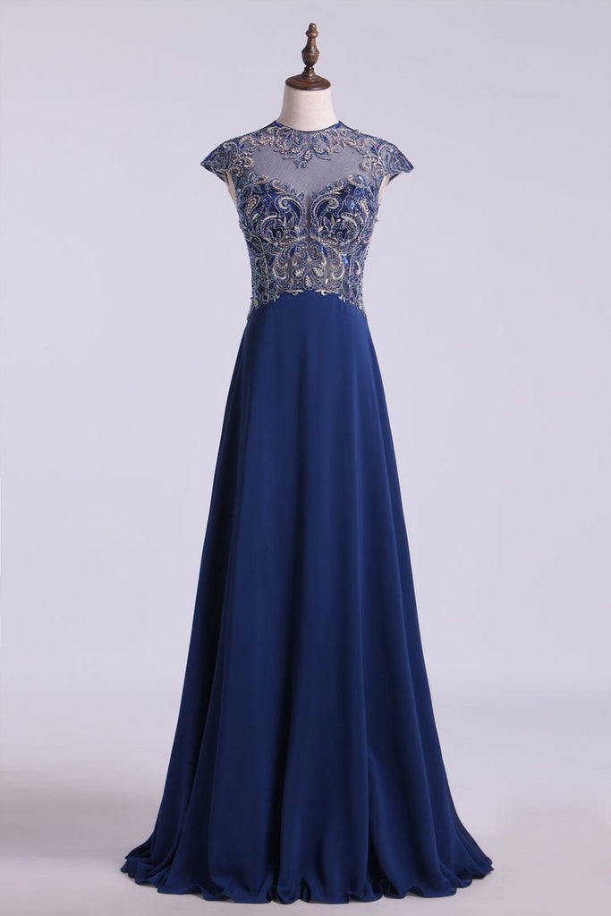 2019 High Neck A-Line Prom Dresses Chiffon Embellished Tulle Bodice With Beads & Embroidery