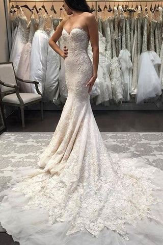 Mermaid/Trumpet Sweetheart Tulle Wedding Dresses With Appliques Zipper Up