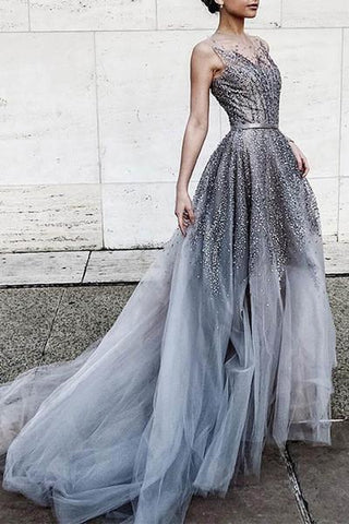 Gray tulle sequins round neck see-through long prom dress train dresses