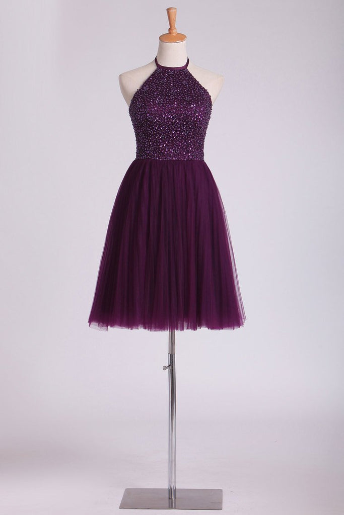 Hot Halter Homecoming Dresses A-Line Tulle Beaded Bodice Mini