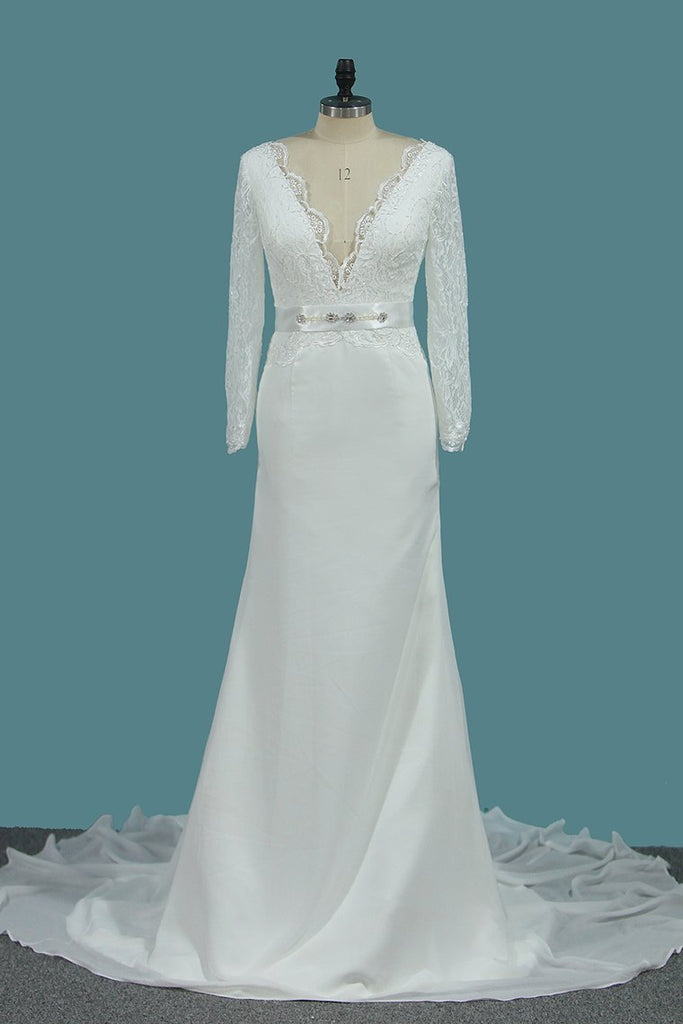 Chiffon Long Sleeves V Neck Wedding Dresses Mermaid With Sash