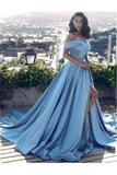 Off The Shoulder Blue Satin Long Modest Prom Dresses Evening Dresses