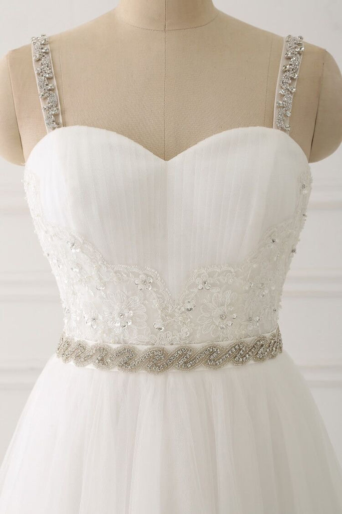 A Line White Spaghetti Straps Tulle Beads Appliques Sweetheart Zipper Prom Dresses JS597