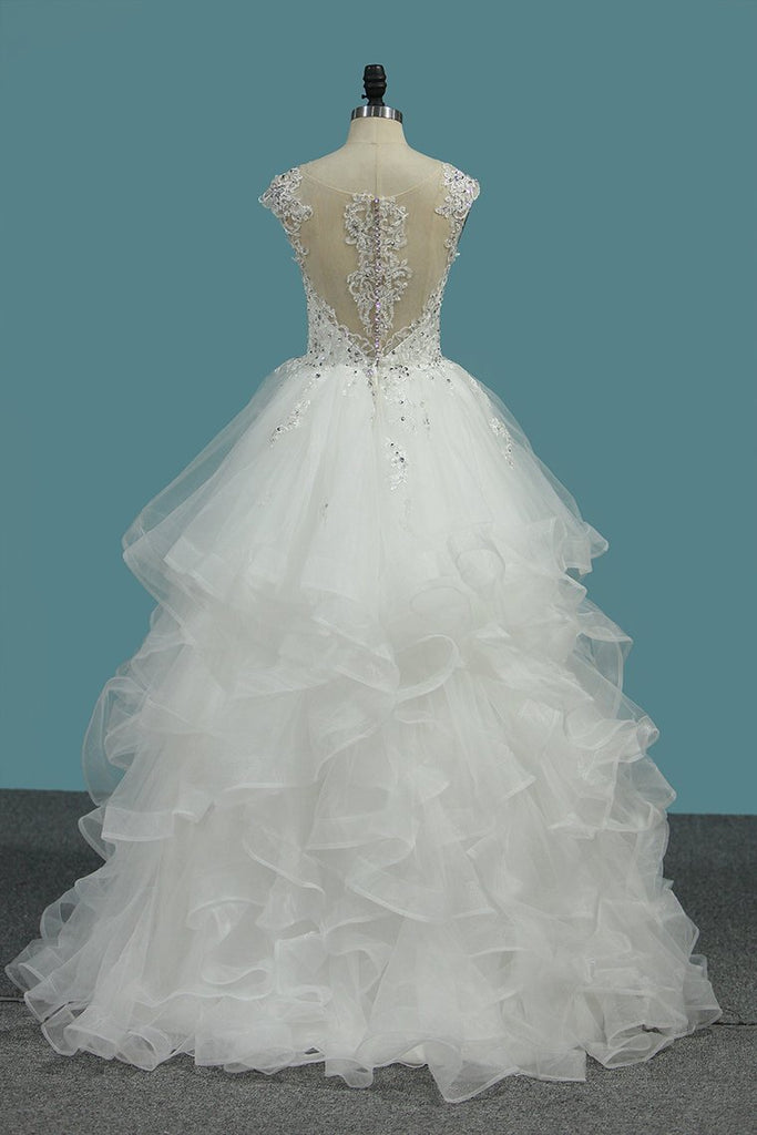 2021 A Line V Neck Wedding Dresses Tulle With Applique Sweep Train