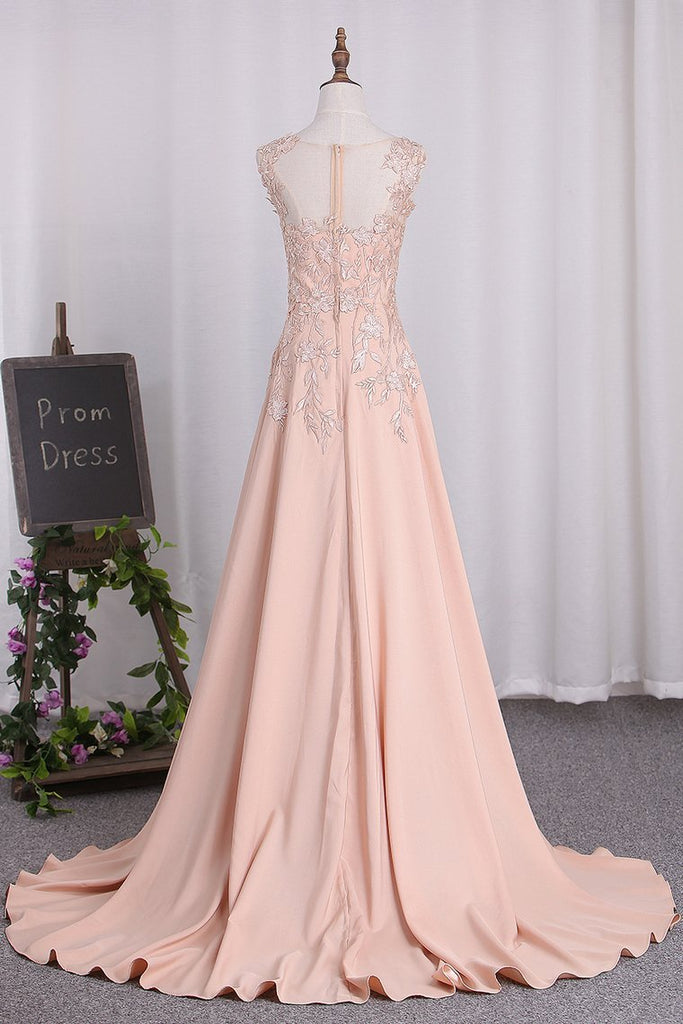 2021 A Line Elastic Satin Straps Prom Dresses With Slit Sweep Train
