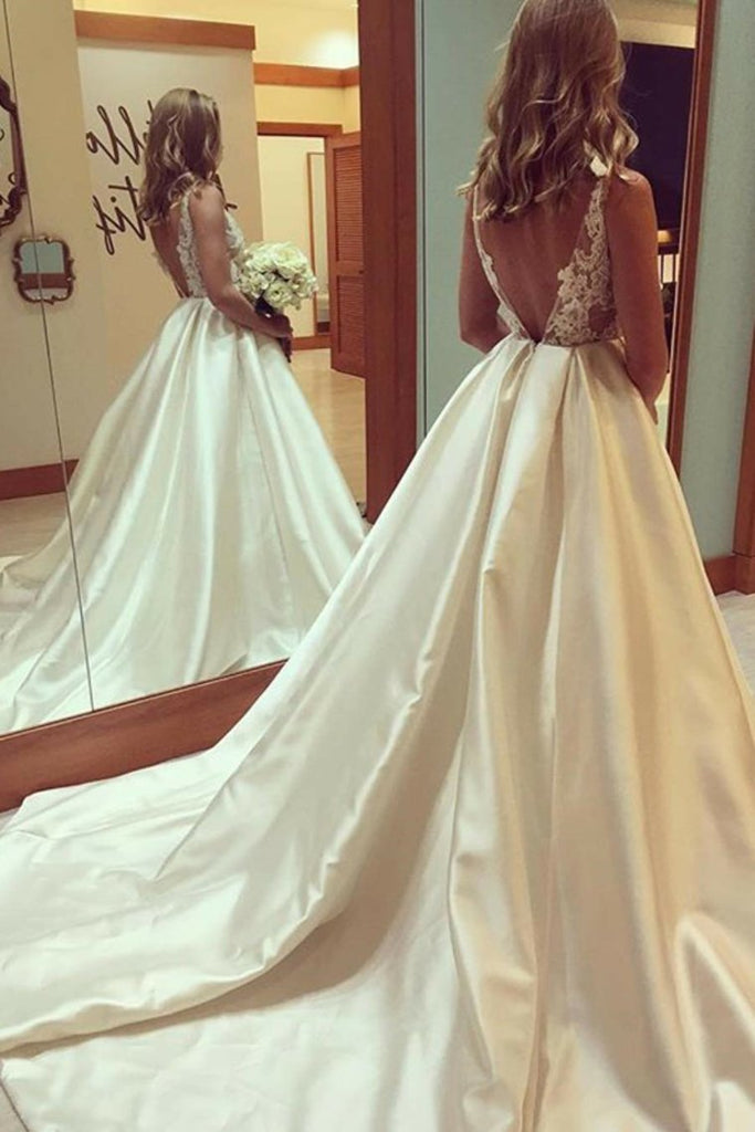 Pretty Open Back Long Lace Satin Elegant Wedding Dresses