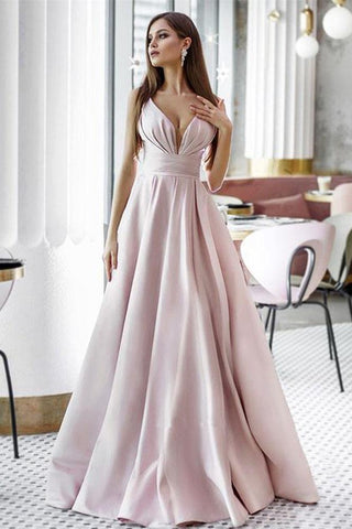 Vintage A Line Pink Satin Long Evening Dresses, Simple Dance Formal Dresses SSM15541