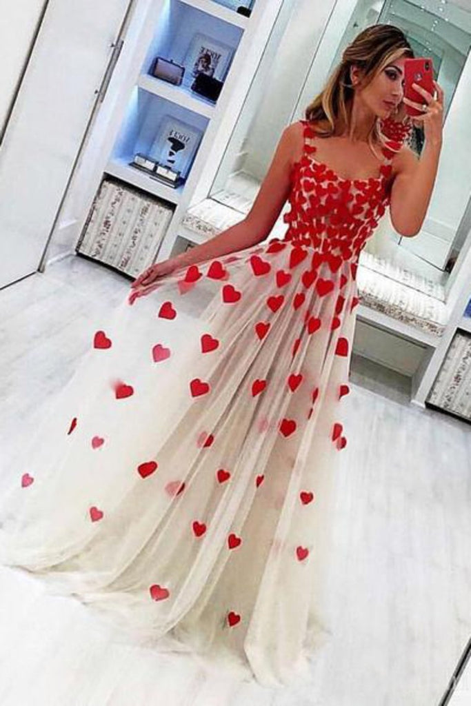 2019 Elegant A-Line Tulle Prom Dresses Formal Dresses With Applique Evening Dress