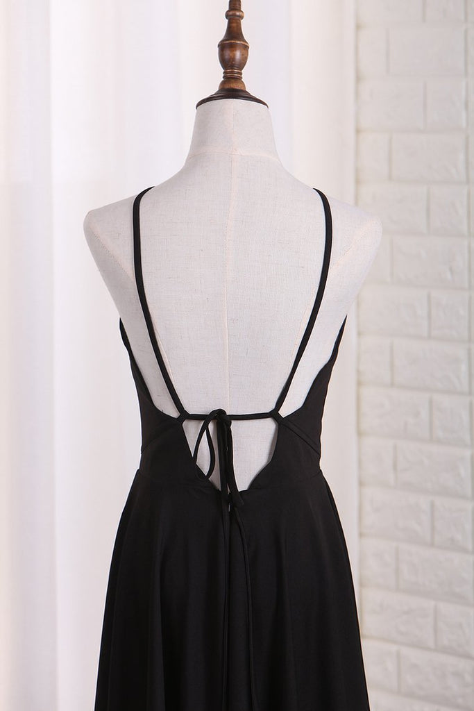2021 A Line Spaghetti Straps Spandex Cocktail Dresses Short/Mini Open Back