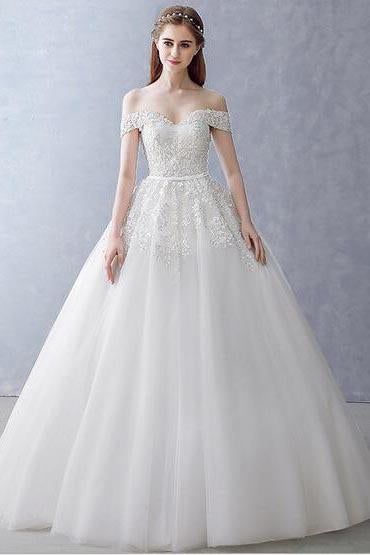 White Off-the-Shoulder Ball Gown Beads Sweetheart Floor-Length Wedding Dress JS751