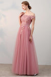 Chic A-Line Off-the-Shoulder Pink Appliques Lace-up Tulle Modest Long Prom Dresses JS410