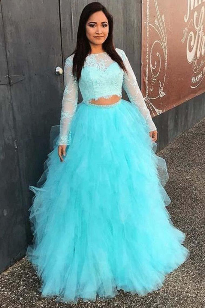 Pretty Ball Gonw Long Sleeves 2 Pieces Lace Tulle Princess Prom Dresses