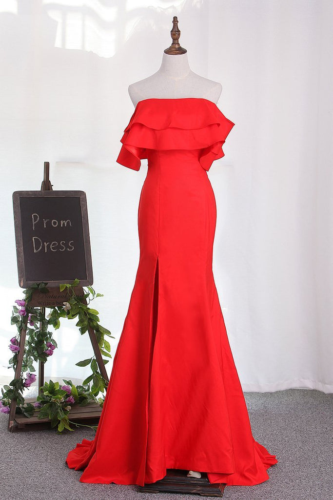 2019 Evening Dresses Boat Neck Mermaid With Slit Sweep Train
