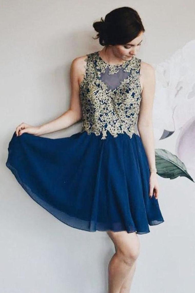 A Line Chiffon Lace Appliques Short Homecoming Dresses