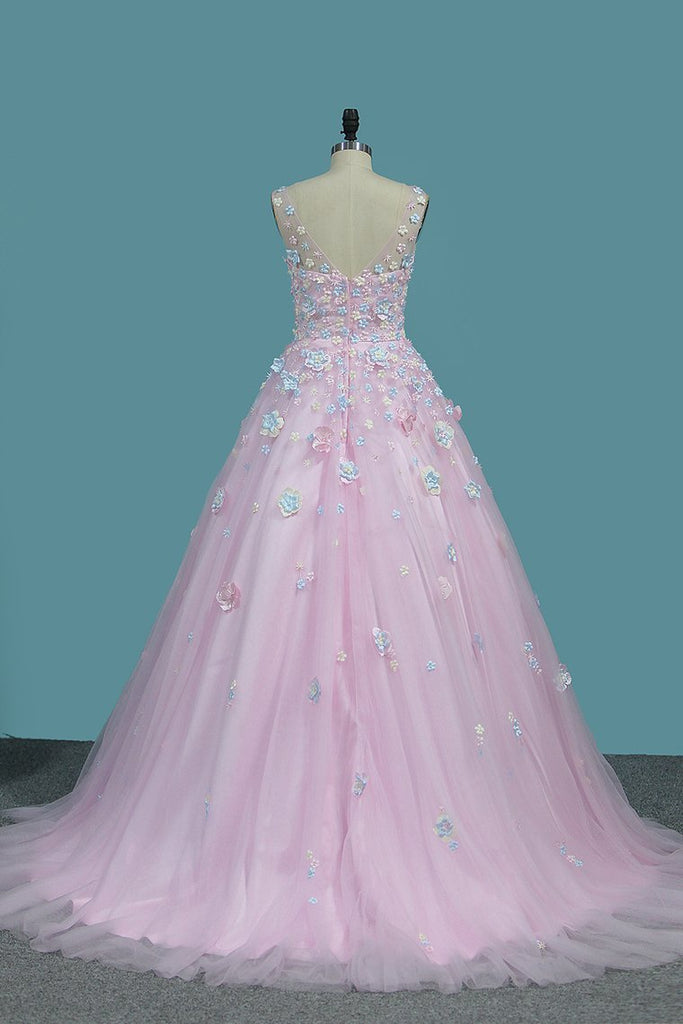 Quinceanera Dresses A-Line Tulle With Applique Sweep Train Zipper Back