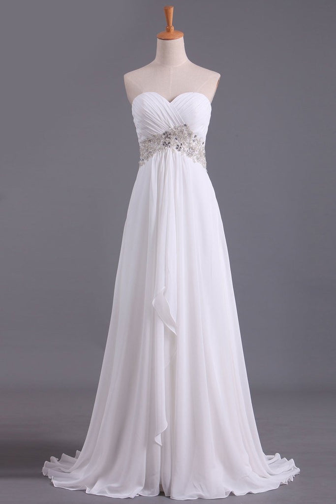 2021 A Line Sweetheart Chiffon With Beads And Ruffles Wedding Dresses