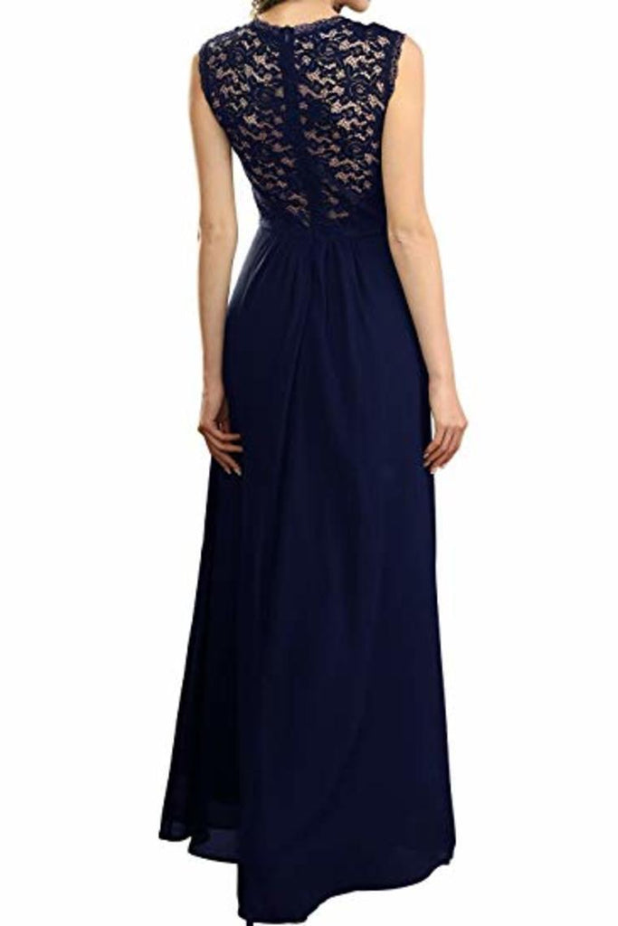 Elegant Sleeveless Round Neck Lace Dress Bridesmaid Party Festive Chiffon Long Dress