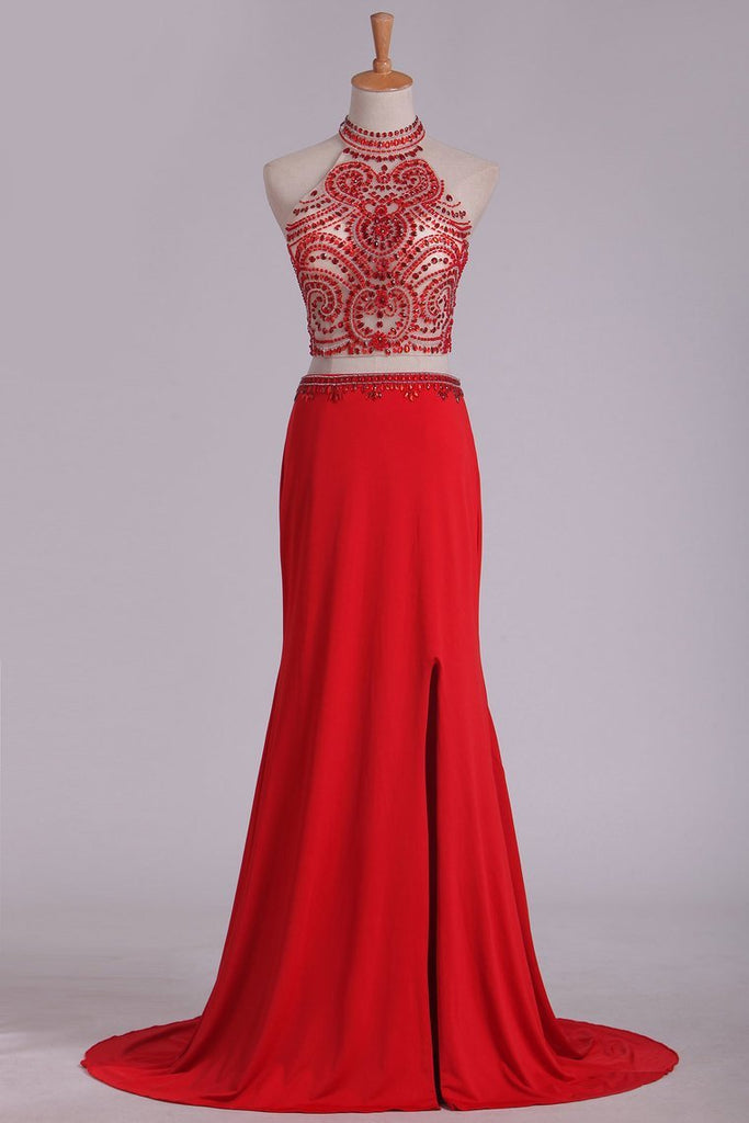 2019 Prom Dresses See-Through High Neck Two Pieces Spandex With Slit And Beading