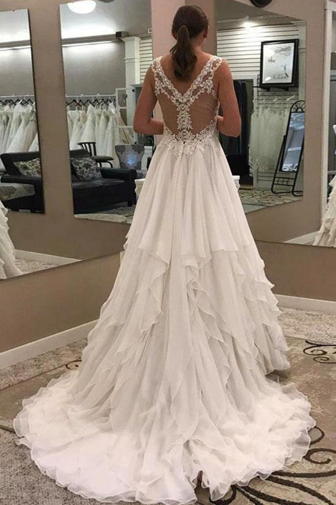 Ivory Lace Chiffon Long V-Neck Elegant Wedding Dresses Modest Wedding Gowns
