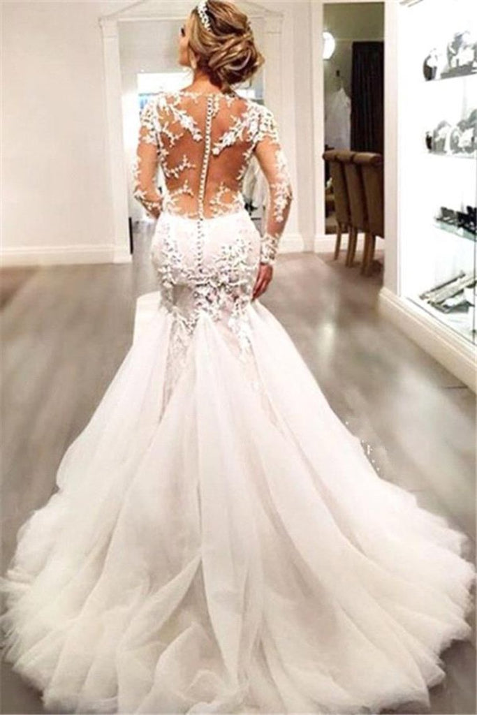 V Neck Wedding Dresses Mermaid/Trumpet With Applique And Beads Sweep Train