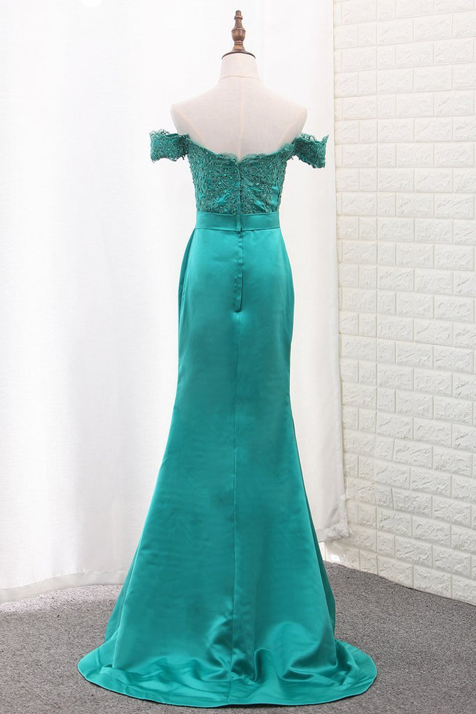 Mermaid Off The Shoulder Satin Bridesmaid Dresses Sweep Train