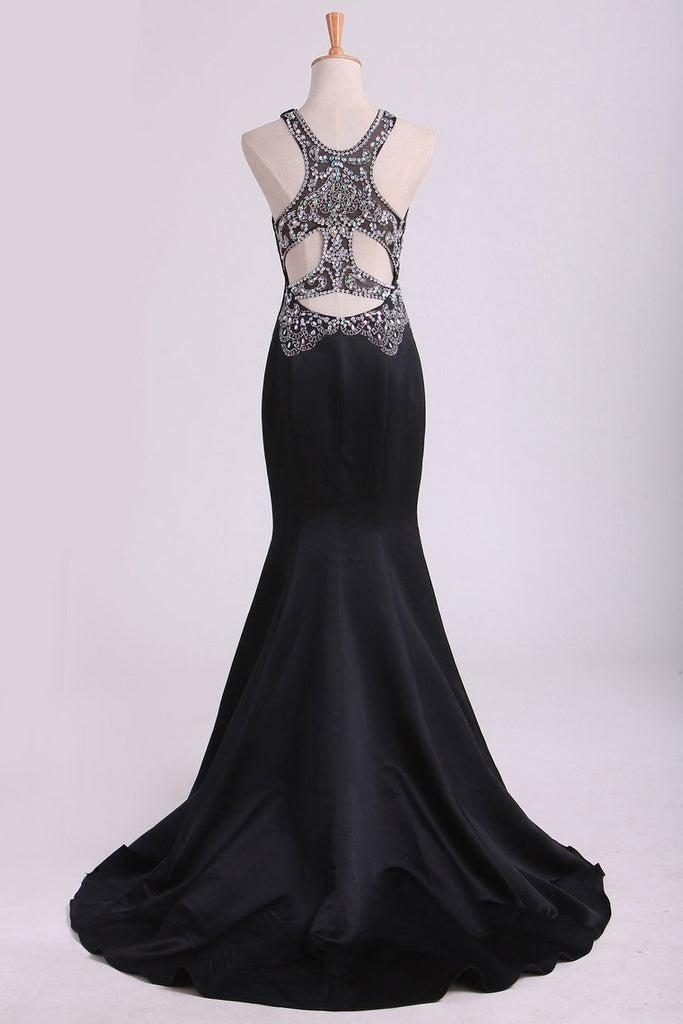 2019 Black Scoop Mermaid Beaded Bodice Open Back Prom Dresses Satin Floor Length