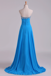2019 Sweetheart Beaded Neckline Prom Dress A Line With Ruffles Chiffon