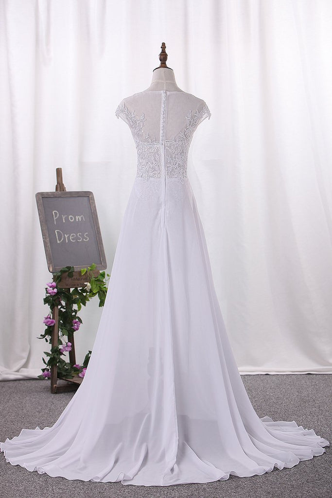 Wedding Dresses Scoop Cap Sleeves Chiffon With Applique Slit