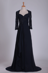 Mother Of The Bride Dresses Mid-Length Sleeves Chiffon With Applique Sweep Train