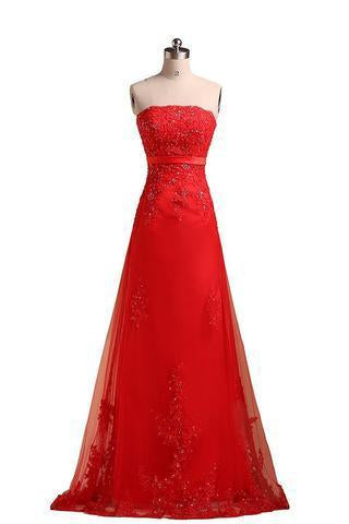 Sweetheart Pretty A-line Strapless Prom Dresses Applique Prom Dress Long Prom Dresses JS758