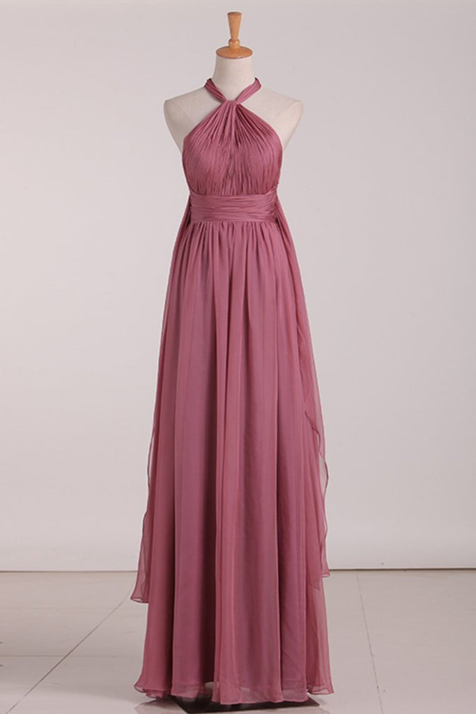 2019 Sexy Open Back Bridesmaid Dresses Chiffon With Ruffles And Sash