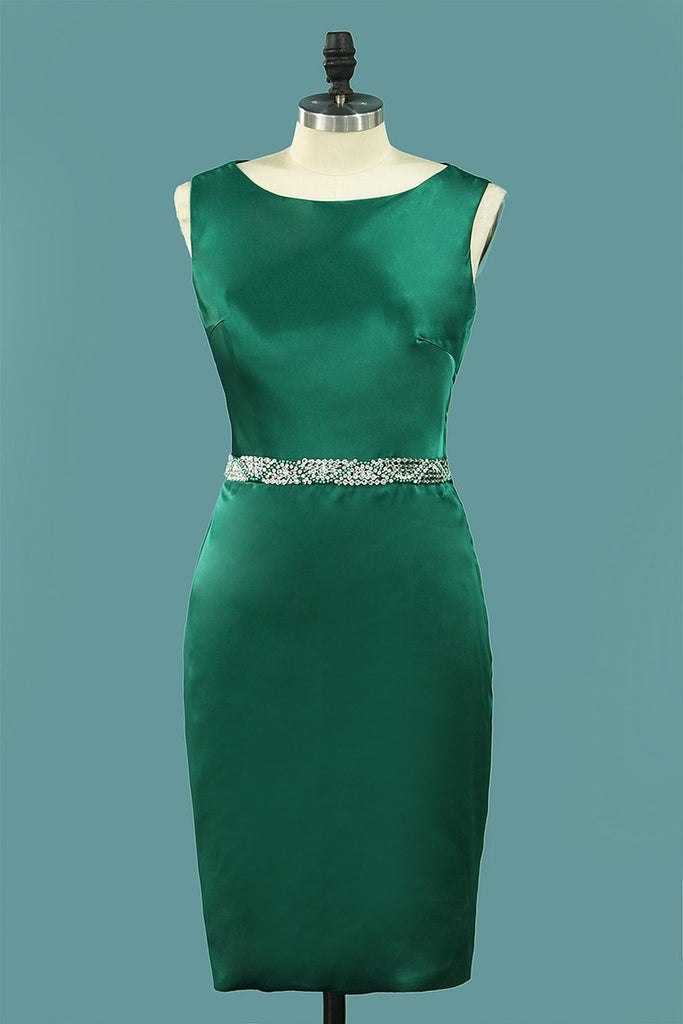 2019 New Arrival Satin Sheath Scoop Cocktail Dresses Knee Length