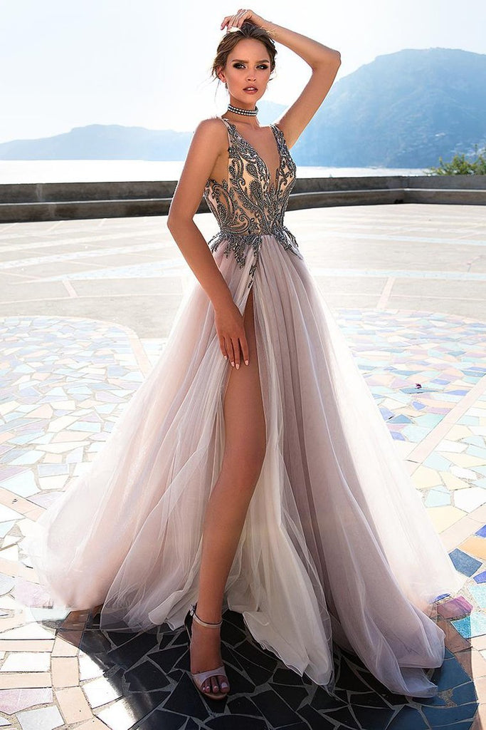 2019 Straps Prom Dresses A Line Tulle With Beading And Slit New Arrival
