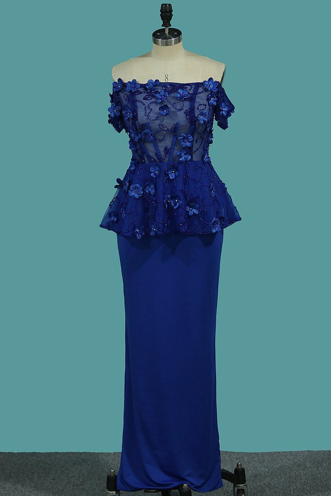 2019 Sheath Boat Neck Spandex Prom Dresses With Beads And Handmade Flower