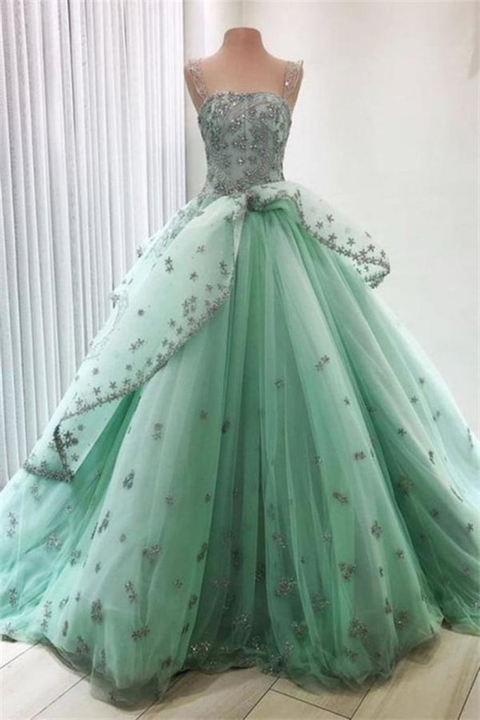 Modest Ball Gown Lace Up Princess Prom Dresses Quinceanera Dresses