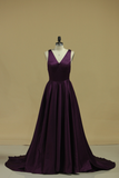 2019 Grape V Neck Evening Dresses A Line With Slit & Ruffles Sweep Train