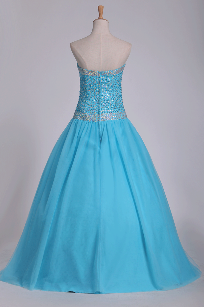 Tulle Floor Length Sweetheart Beaded Bodice Prom Gown A Line