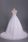 2019 Chapel Train Wedding Dresses Bateau Tulle With Applique And Sash A Line