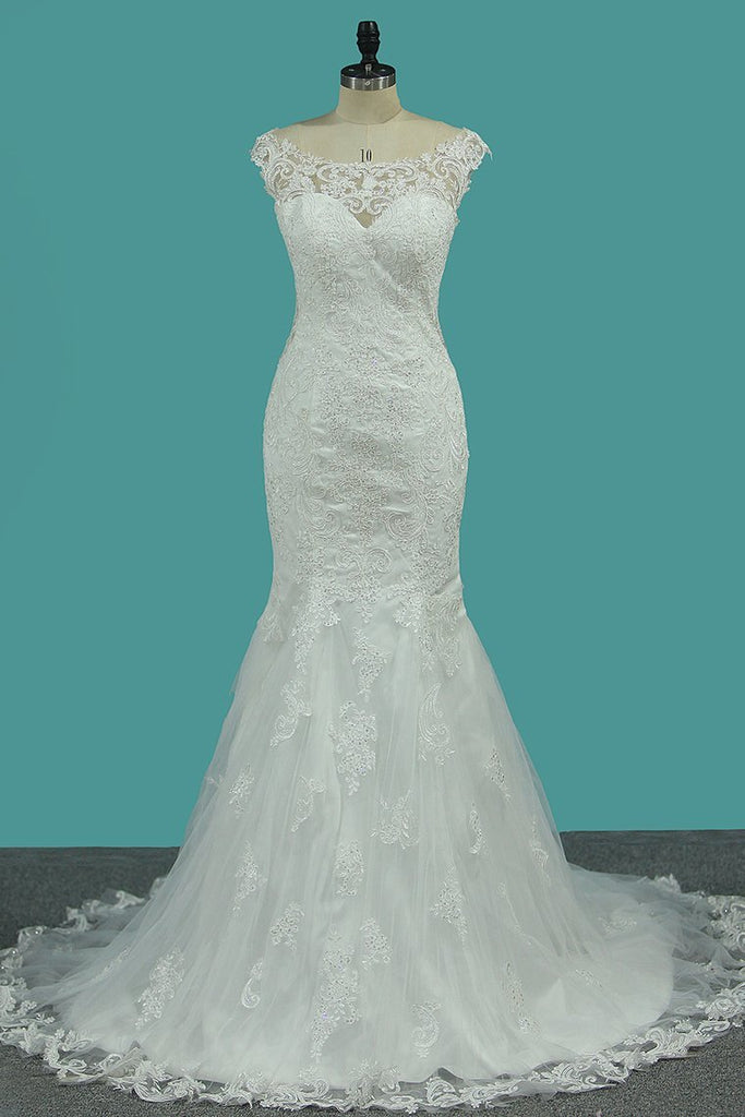 Wedding Dresses Mermaid Bateau Tulle With Applique Court Train