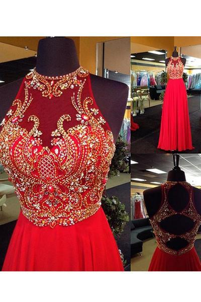 A-Line Halter Sleeveless Open Back Chiffon Red Beaded Long Rhinestone Prom Dresses JS947