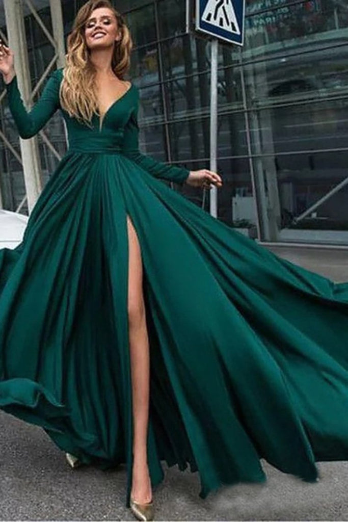 Burgundy Prom Dresses With Slit V Neck Cheap Long Sleeve Prom Dress Evening Dress