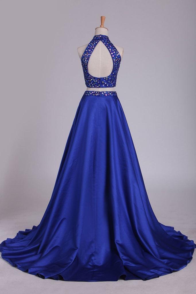 Two Pieces High Neck Prom Dresses A Line Beaded Bodice Satin Dark Royal Blue
