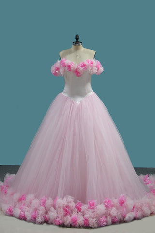 Tulle Ball Gown Off The Shoulder Quinceanera Dresses With Handmade Flower