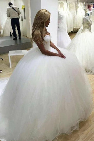 Sparkly Ball Gown Tulle Strapless Ivory Wedding Dresses, Long Bridal Dresses SSM15429