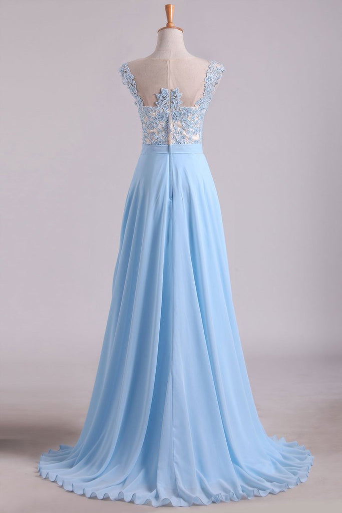Scoop Cap Sleeves Prom Dresses Chiffon With Applique Floor Length
