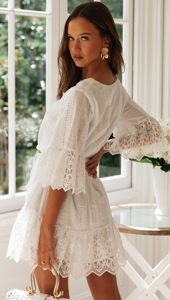 A Line Long Sleeve White Simple Lace Short Sexy Criss Cross Above Knee Homecoming Dress JS783