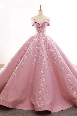 Ball Gown Off The Shoulder Satin Prom Dress With Appliques Long Quinceanera SSMPDJZ6JB1