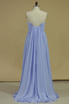 Chiffon Strapless Prom Dresses A Line With Slit And Ruffles