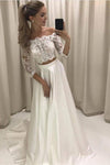 A-line Princess Lace Bodice 3/4 Sleeves Two Pieces Satin Simple Wedding Dresses JS728