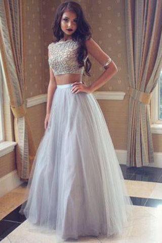 Grey Two Pieces Simple Tulle Long Scoop Sleeveless A-line Beading Evening Dresses JS988